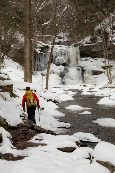 Hiking the falls trail in winter at Ricketts Glen State Park